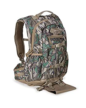 North Mountain Gear Camouflage Hunting Backpack Waterproof Bow and Rifle Compatible Hunting Bag  Mossy Oak Greenleaf