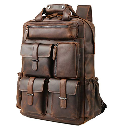 TIDING Men's Leather Daypack 15.6 Inch Laptop Bag School Book Bag with Trolley Strap, Large Capacity Daypacks for Men Shoulder Bag Brown