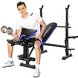 Weight Bench Aggiustabile peso olimpico Bench Full Body Workout Esercizio di forza multifunzionale con Preacher Curl &Leg Developer for Home indoor (Blu)