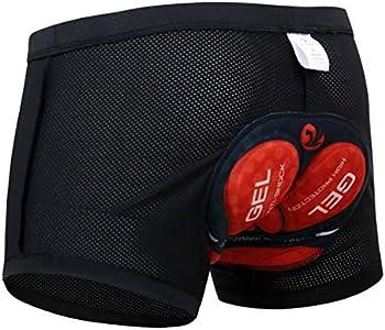 X-TIGER Hombres Ropa Interior de Bicicleta con 5D Gel Acolchado MTB Ciclismo Pantalones Cortos,Color Negro con Rojo,L