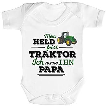 ShirtStreet Vatertag Landwirt Trecker Strampler Bio Baumwoll Baby Body kurzarm Papa - Mein Held fährt Traktor, Größe: 3-6 Monate,White