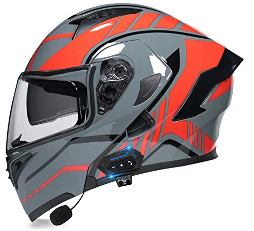 TKTTBD Casco De Moto Modular Bluetooth Integrado con Doble Anti Niebla Visera Cascos De Motocicleta ECE Homologado A Prueba De Viento Respuesta Automática Manos Libres F,L