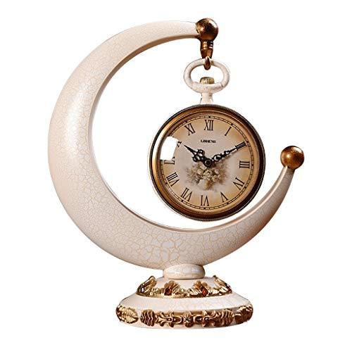 JCOCO Bureau européen créatif rétro bureau mute horloge salon/chambre décoration d'ambiance (Couleur : Blanc)