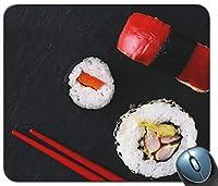寿司と赤い箸カスタマイズされたおしゃれスリップ防止マウスパッド長方形のおしゃれスリップ防止マウスパッドゲーミングマウスマット