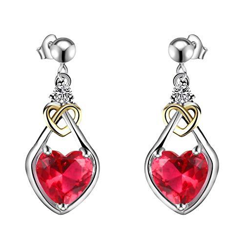 Finance Plan Exquisite Dual Color Heart Shape Faux Ruby Pendant Women Ear Studs Earrings Jewelry Gift