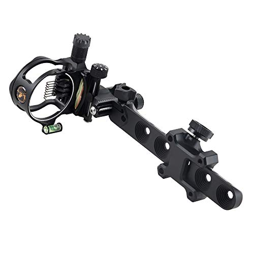 "CNC Aluminum 5 Pins/7 Pins Compound Bow Sight .019"" Tool-Less Bow Sight with Micro Adjust Detachable Bracket LED Sight Light Left and Right Hand (Black, PRO 7 PINS)"