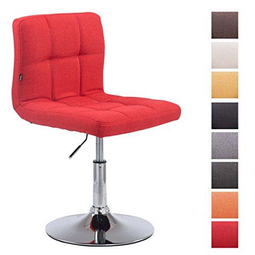 CLP Taburete Bajo Palma V2 Tapizado En Tela I Silla Loungue Regulable En Altura & Giratoria I Taburete De Bar Acolchado & Elegante I Color: Rojo
