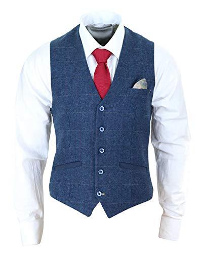House Of Cavani Herrenweste Blau Marineblau Tweed Design Blinders Vintage Design