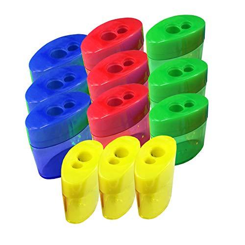 Doble agujero oval en forma de sacapuntas 12 colores surtidos Manual de plástico sacapuntas Set con la cubierta y el receptáculo para la Escuela y Trabajo