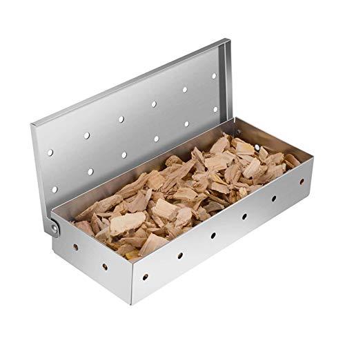 Teeyyui Caja para ahumar, acero inoxidable, caja de humo para barbacoa, chips a prueba de óxido y caja para ahumadores de madera, para deliciosa barbacoa ahumada con sabor a carne a la parrilla
