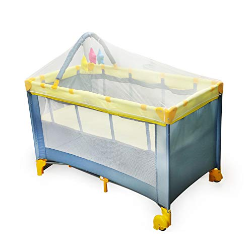 Luvlap Elegant Baby Playpen Playard for Kids/Toddlers, Folding Baby Bed Cum Cot/Convertible Crib - (Yellow)
