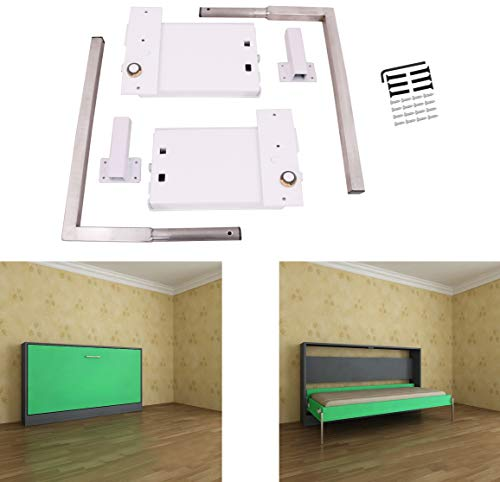 ECLV Horizontal Murphy Wall Bed Springs Mechanism Hardware Kit for Full Size Queen Size,Twin Size,King Size Bed,Horizontal Wallbed Mounting,White