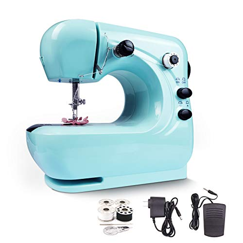 Mini Electric Sewing Machine, Portable Household Lightweight for Beginner, Adjustable Speed with Foot Pedal (Blue)