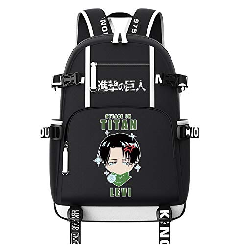 ZahngY Anime Backpack Schüler Schultasche Laptop Rucksäcke Freizeittasche Daypack Oxford Cloth Attack on Titan
