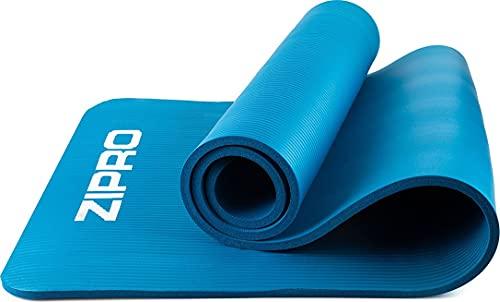 Tappetino per esercizi ZIPRO, tappetino da yoga, tappetino da yoga imbottito antiscivolo per ginnastica fitness pilates con tracolla, 10mm, blu
