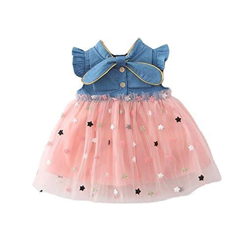 Allskid 0-3 Jahre alt Baby Mädchen Kleider Sommer Kurzarm Sanft Denim Stitching Star Stickerei Garn Rock Tutu Kleid Girls Dresses (70CM/0-6 Months, Rosa)