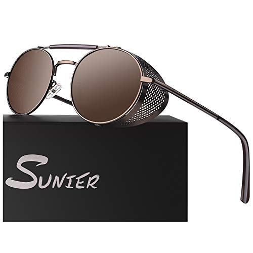 Retro Round Polarized Steampunk Sunglasses Side Shield Goggles Gothic S92-ADVANCED POLARIZED