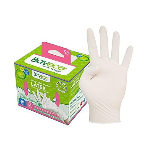 Bayeco - Guantes de un solo uso de Látex - Color Blanco - Ambidiestros - Aptos para el contacto con alimentos - Máxima sensibilidad - Pack dispensador de 30 unidades - Talla S