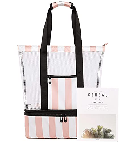 Mesh Beach Bag with Cooler Sections Pool Bag for Women Detachable Insulated Picnic Bag and Solid Zipper Closure Travel Tote Shoulder Bag (Light Pink)
