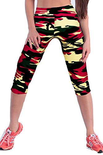 Womens Printed Active Workout Capri Leggings Outfit Stretch Tights(Army Red#23,M)
