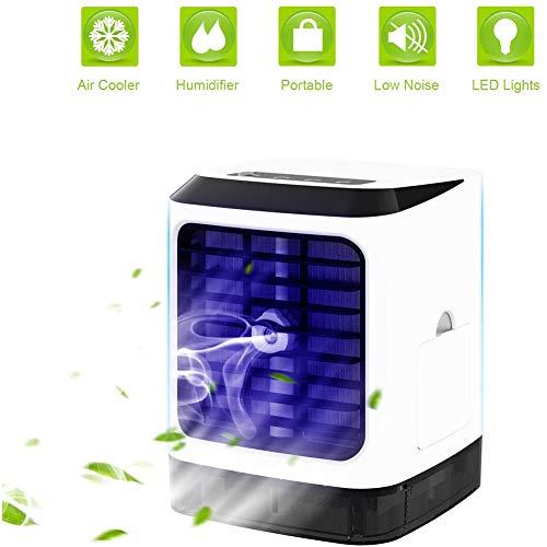 NOENNULL Mini Klimaanlage Luftkühler Luftbefeuchter mit Fernbedienung UV Desinfektion, Tragbare USB Büro Desktop Luftkühler Mini Ventilator für Wohnheim Schlafzimmer Zimmer Auto Büro