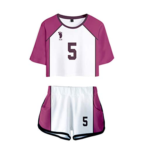 Haikyuu!! to The TOP Cosplay Trainingsanzug Sommer Tops + Sport Kurze T-Shirt Shorts Tracksuit Sportswear-Sets für Damen