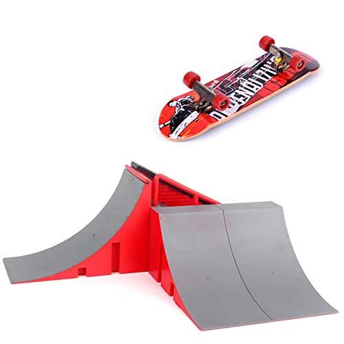 Finger Skate Park Kit de rampa con 1 dedo para monopatín mini escena de patineta para dedos de entrenamiento // 1 rampa de skate para dedo + 1 monopatín de dedo (color al azar)