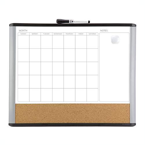 U Brands Magnetic Dry Erase 3-in-1 Calendar Board, 16 x 20 Inches, MOD Black/Gray Frame, Magnet and Marker Included (388U00-01), Black & Grey