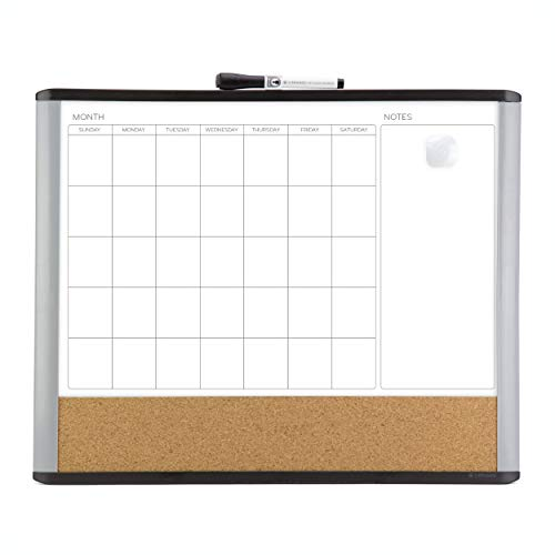 U Brands Magnetic Dry Erase 3-in-1 Calendar Board, 16 x 20 Inches, MOD Black/Gray Frame, Magnet and Marker Included (388U00-01), Black & Grey