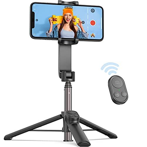QIMIC Gimbal Smartphone 1 Assi Stabilizzatore Telecomando Bluetooth, Supporto per Treppiede per Telefono Cardanico con Bilanciamento Automatico Rapido Compatibile con Android e iPhone