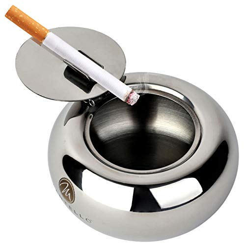 Mantello Modern Stainless Steel Tabletop Ashtray with Lid Indoor Outdoor Use