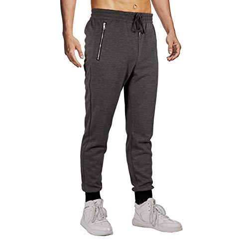 Herren Hosen Jogginghose Slim Fit Jogger Hose mit Reißverschlusstaschen Baumwolle Cargo Hose Sporthose Freizeithose Trainingshose (A-Grau, M)