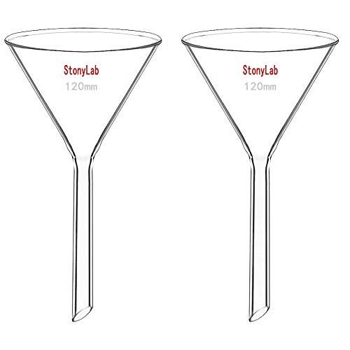 StonyLab 2 Stück Glastrichter Labor Borosilikatglas Trichter, Glass Funnel 120mm Durchmesser, 120mm Stiellänge, Borosilicate Labortrichter