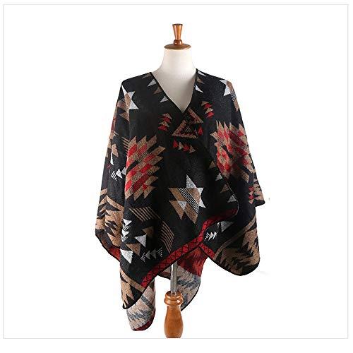 Mujeres manta caliente de la bufanda Invierno caliente espesado mantón de la bufanda de doble uso de las mujeres caliente de Split flor de la estrella salvaje Capa ( Color : Brown , Size : 160x130cm )