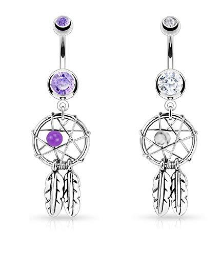 2pcs Dream Catcher Woven Star Design-Bead & Feathers Fancy Navel Ring 14G Purple & White
