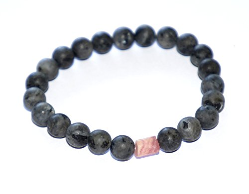 Love And Happiness Black Labrodite Gemstone Bead Bracelet With Magical Rough Cut Pink Quartz Stone