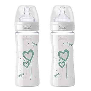 CHICCO botellas de cristal, 2 x 240 ml, Mamá Efecto silicona Aspiradora 0 m +, Fabricado en Italia