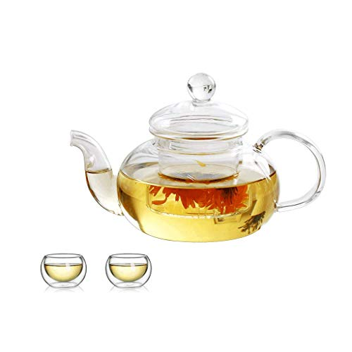 Theepotenset, 2 kopjes; transparant, bestand tegen hoge temperaturen, 600 ml, hoog borosilicaat, infuser voor losse thee