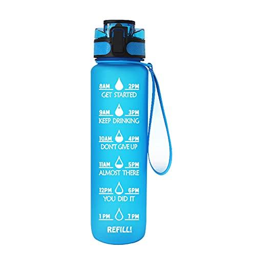 Longsheng, borraccia sportiva da 1 l, senza BPA, in Tritan, in plastica atossica, resistente alle perdite, con filtro, ideale per la palestra