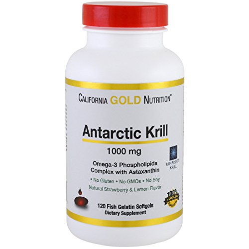 California Gold Nutrition Antarctic Krill Oil with Astaxanthin RIMFROST Natural Strawberry Lemon Flavor 1000 mg 120 Fish Gelatin Softgels, Milk-Free, Egg-Free, Gluten-Free, Peanut Free, Soy-Free, CGN