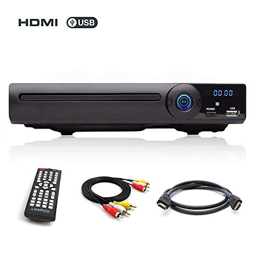 LONPOO Metallschale DVD Player Codefree mit HDMI & SCART & USB & MIC Ports (HDMI & RCA Kables)