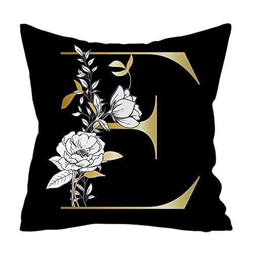ZJMKFJL Black Square Pillowcase, Sofa Pillowcase, Chair Cushion Cover, Peach Skin Material, Home Decoration, Letter Printed Pattern, High-End Pillow, 45 * 45, 4Pcs