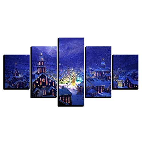 Laiyoude Wohnzimmer Leinwand Malerei, 5 Stück, Rahmenlos, Leinwand Wandkunst am Abend, schöne Stadt in der Nacht