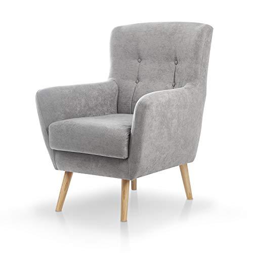 SUENOSZZZ-ESPECIALISTAS DEL DESCANSO Butaca nórdica Izan de una Plaza, sillón tapizado en Tela Antimanchas Color Gris