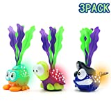 GRUSEMI Light-up Swimming Pool Toys for Kids, 3 Pack Summer Diving Toy Animals, Shining Underwater Toy Set for Kids Boys Girls Child, Ideal Pool Party Game Toys Gift for 3 4 5 6 Years Old