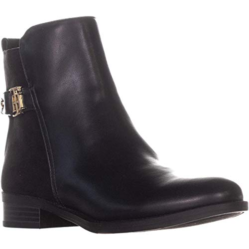 Tommy Hilfiger Womens Irsela Leather Closed Toe Ankle, Black Multi, Size 5.0