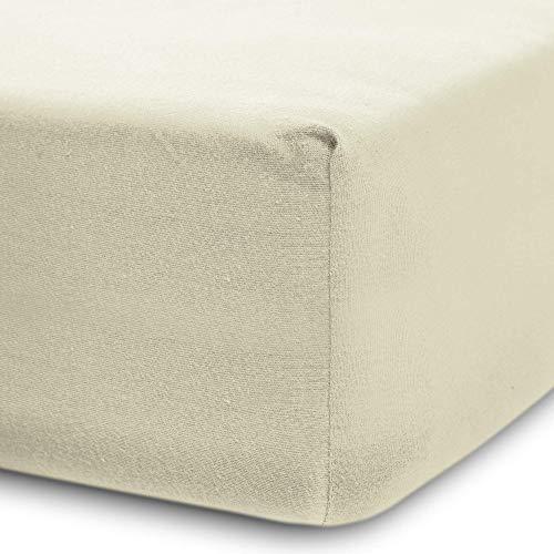 Lumaland Luxury Jersey Spannbettlaken für Wasserbett und Boxspringbett 100 % Baumwolle mit Rundum-Gummizug 180-200 x 200-220 cm Sand