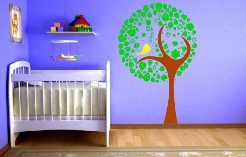 Lovely Arbre Bird Fleur Enfants Autocollant Mural, Leather Brown/Green/Lemon Yellow, Small: 45cm x 70cm / 18\