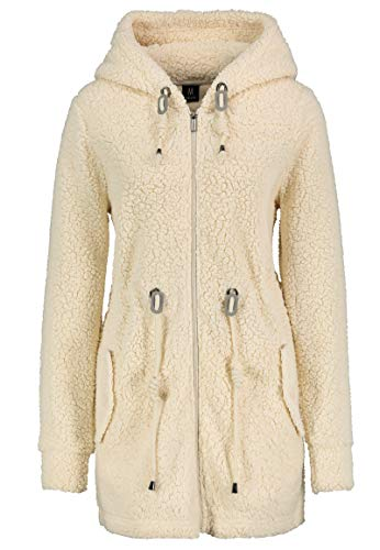 Sublevel Warmer Damen Teddy Fleece Mantel Jacke mit Kapuze Light-beige XS