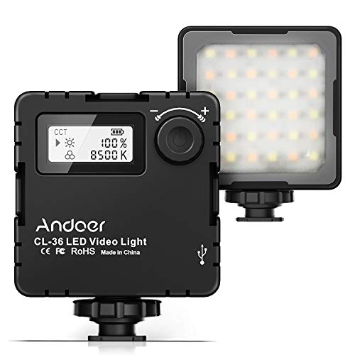 Andoer CL-36 2000mAh Mini Bi-Color LED Video Light 2800K-8500K Dimmable Built-in Rechargeable Battery with 3 Cold Shoe Mounts LCD Display Vlog Fill Light